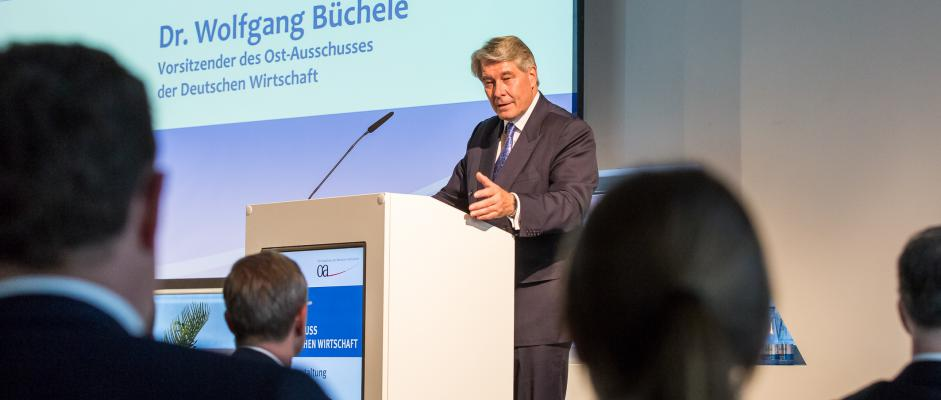 Der Ost-Ausschuss-Vorsitzende Büchele begrüßte die rund 250 Gäste der Jahresveranstaltung 2016. Foto: Ost-Ausschuss